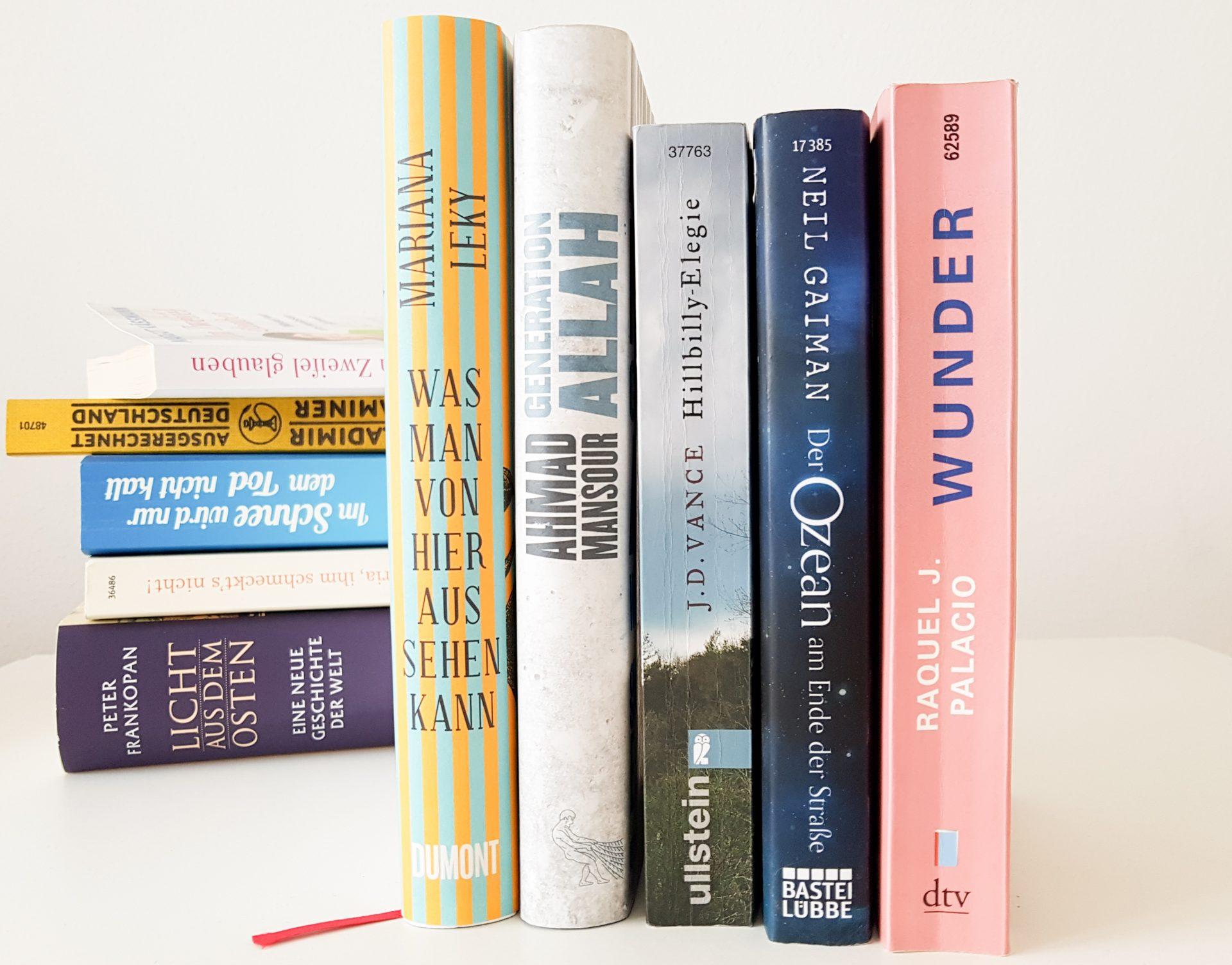 Vorne eine Reihe Bücher verschiedener Autoren, dahinter ein Bücherstapel