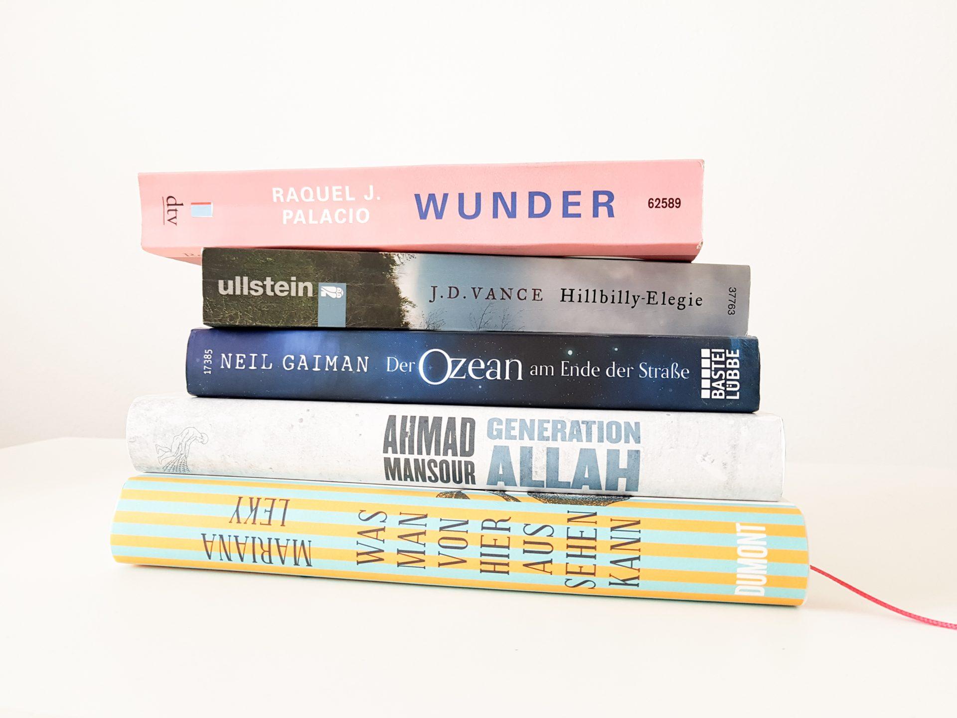 Ein Bücherstapel mit Büchern von Leky, Mansour, Gaiman, Vance und Palacio